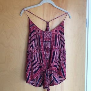 NWT Lucky Brand tank with red and blue pattern